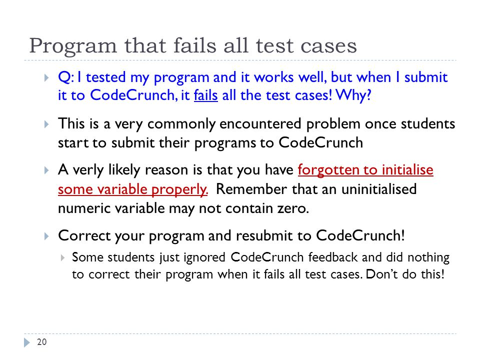 Program that fails all test cases