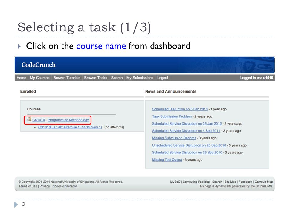 Selecting a task (1/3) Click on the course name from dashboard