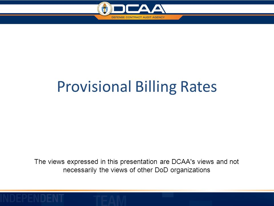 Provisional Billing Rates