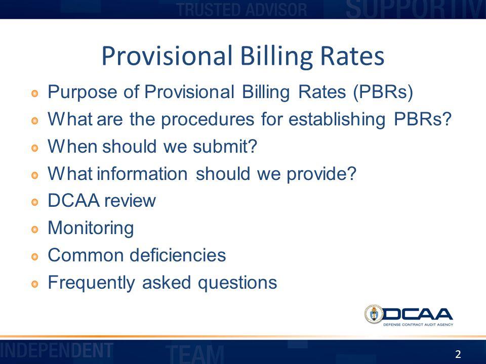 Provisional Billing Rates