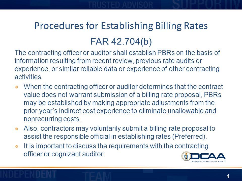 Procedures for Establishing Billing Rates
