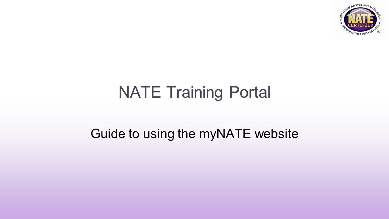 Guide to using the myNATE website