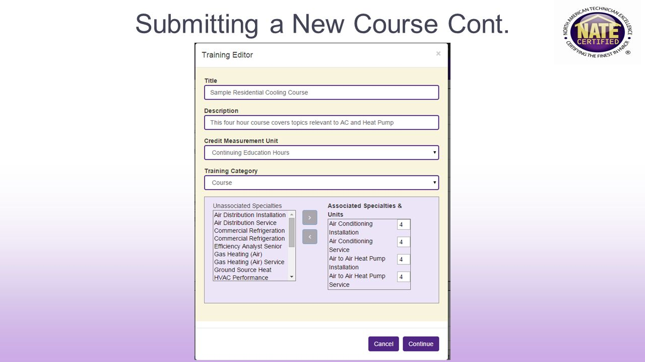 Submitting a New Course Cont.