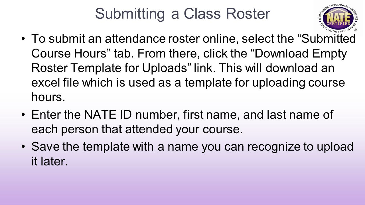 Submitting a Class Roster