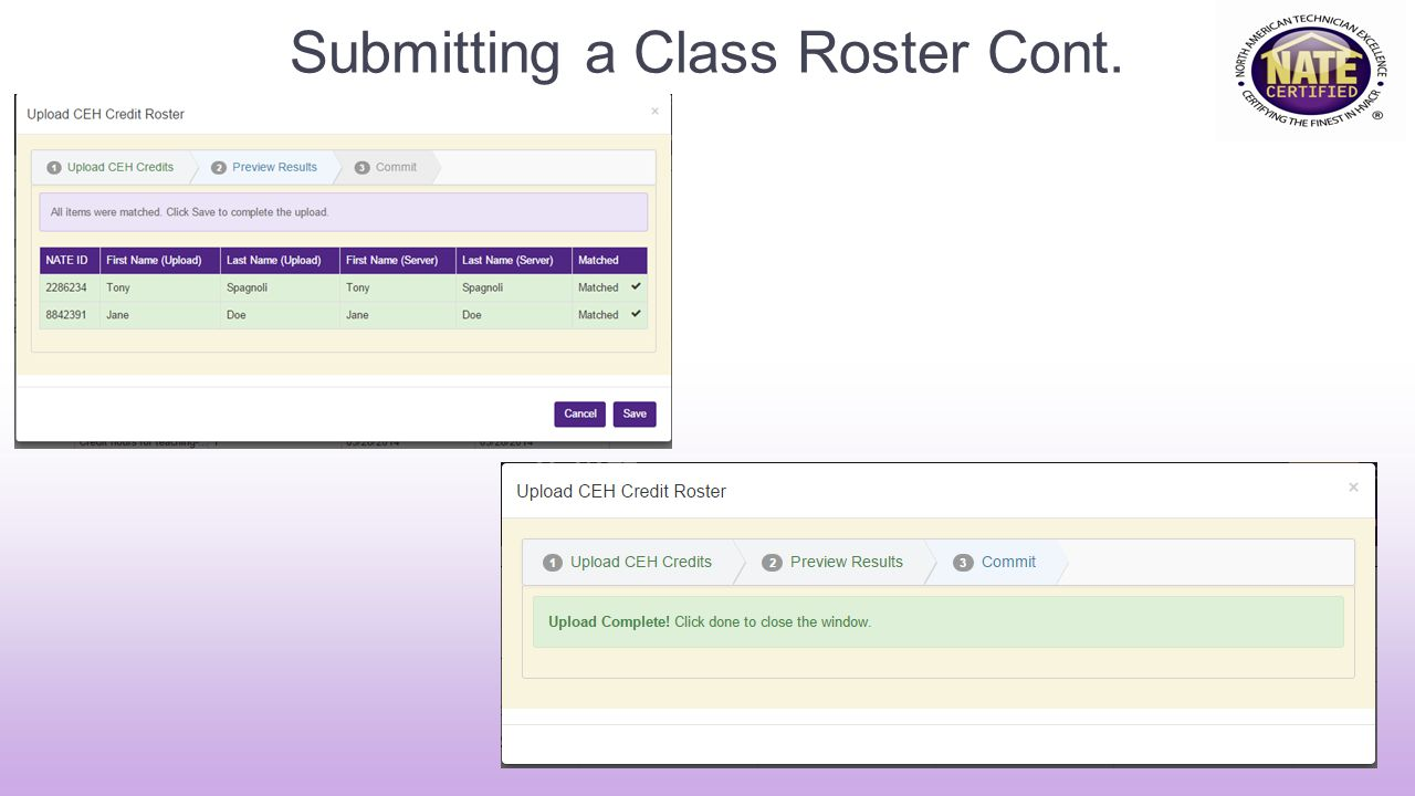 Submitting a Class Roster Cont.