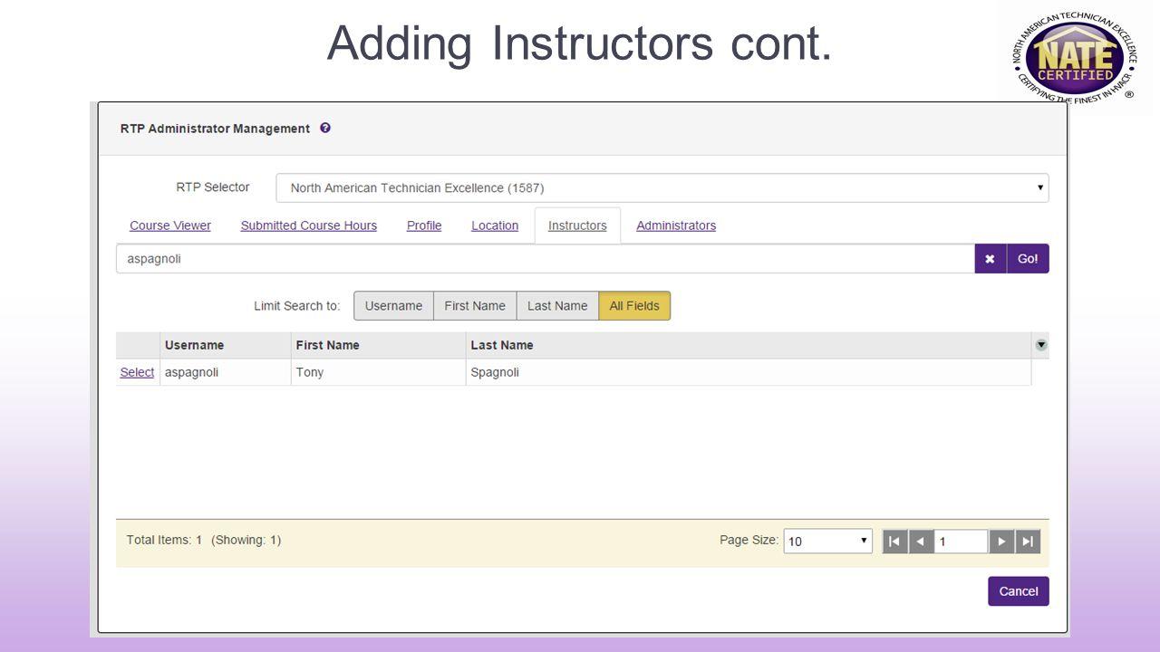 Adding Instructors cont.