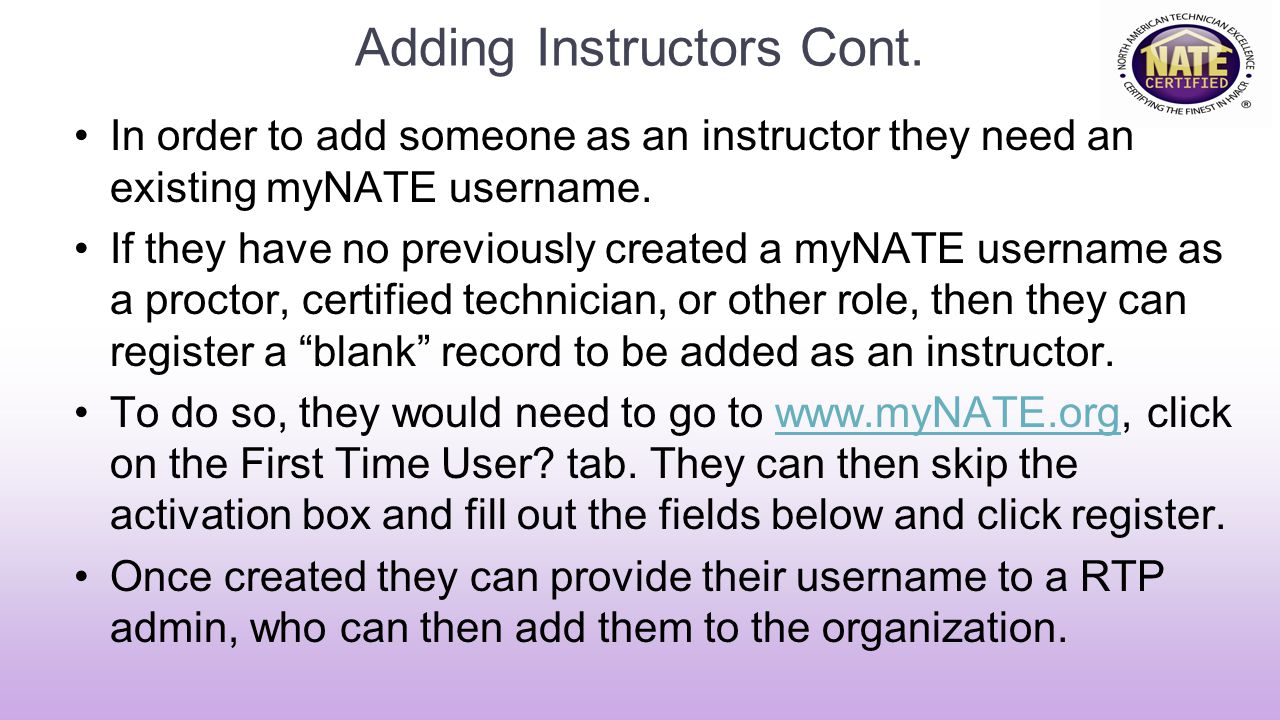 Adding Instructors Cont.