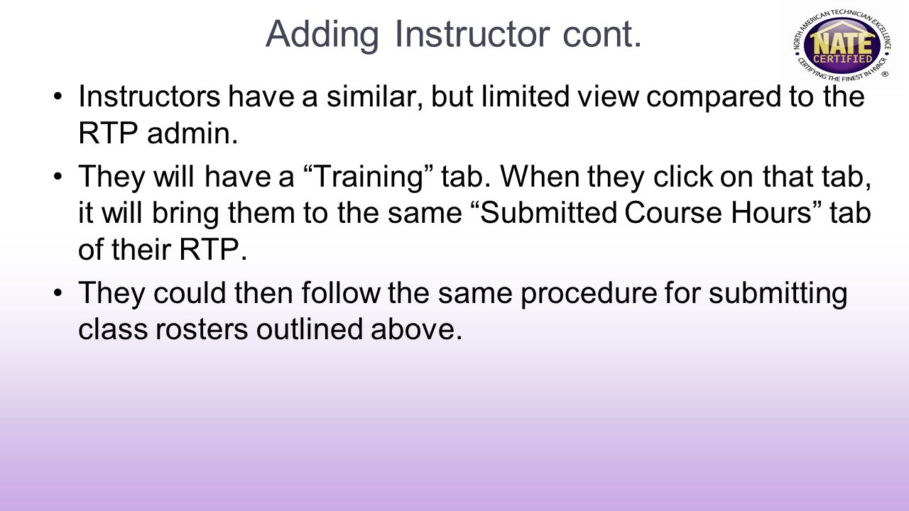 Adding Instructor cont.