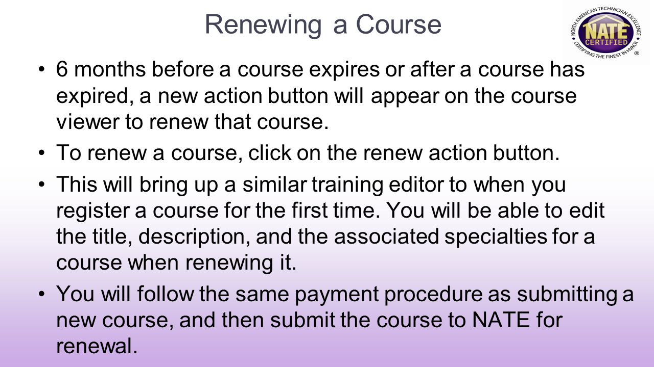 Renewing a Course