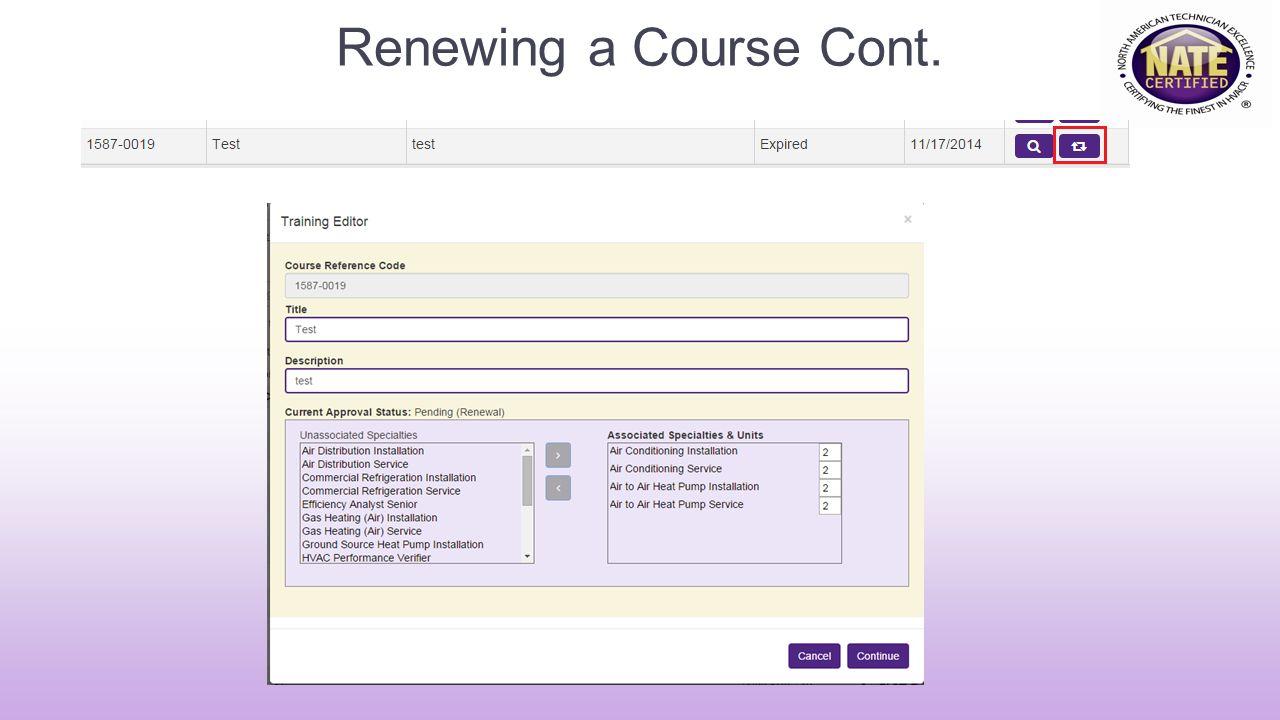 Renewing a Course Cont.