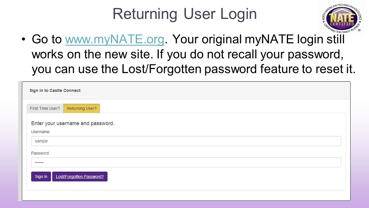 Returning User Login