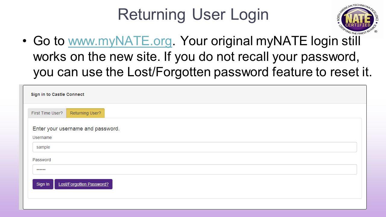 Returning User Login