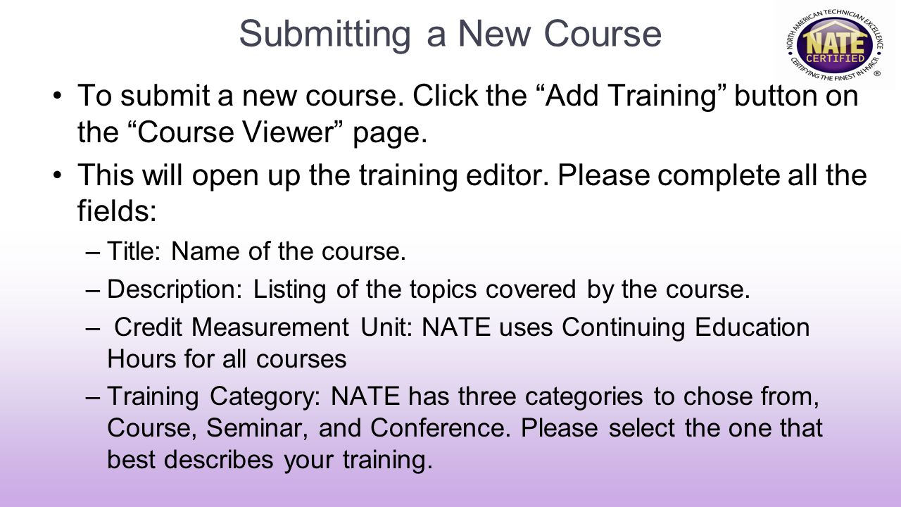 Submitting a New Course