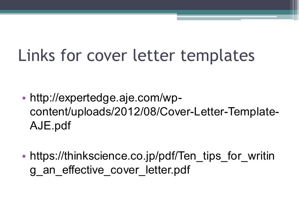 Links for cover letter templates
