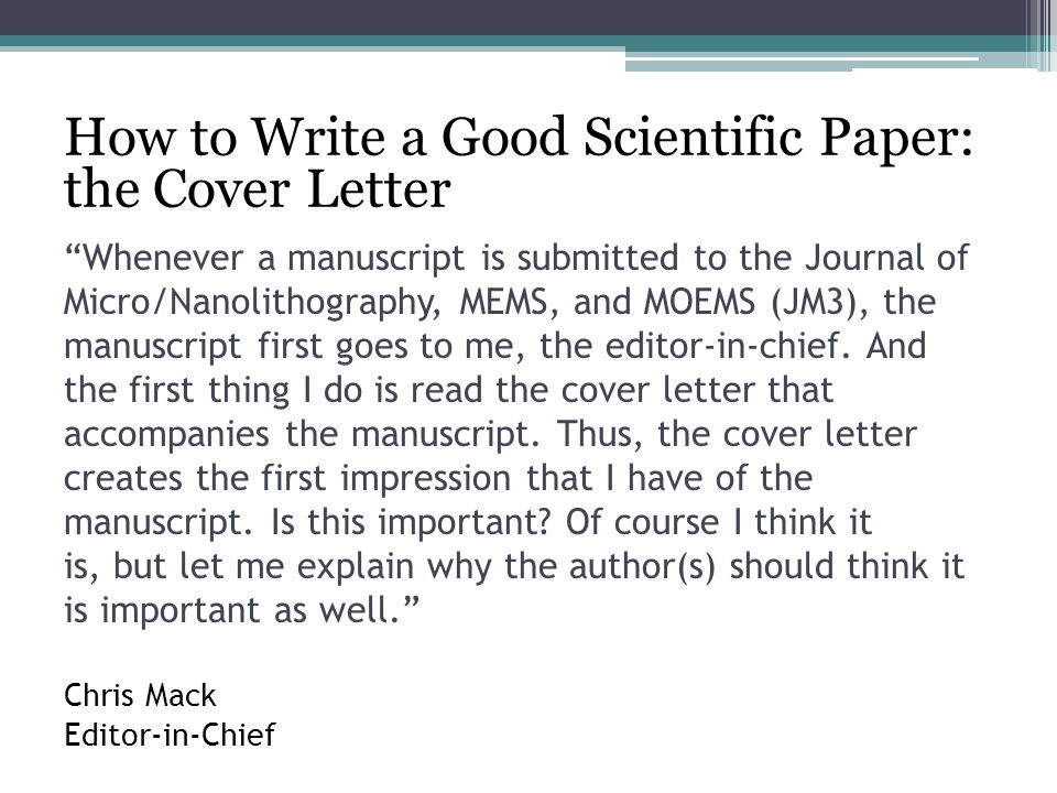 Writing Cover Letters for Scientific Manuscripts - ppt video online ...