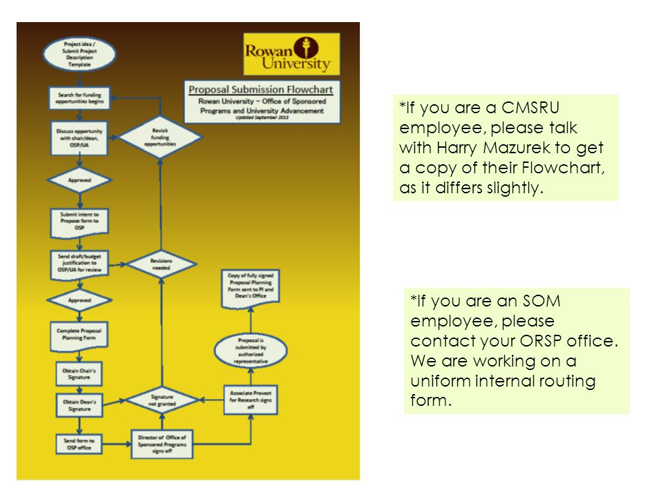 *If you are a CMSRU employee, please talk with Harry Mazurek to get a copy of their Flowchart, as it differs slightly.