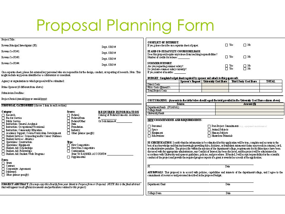 Proposal Planning Form