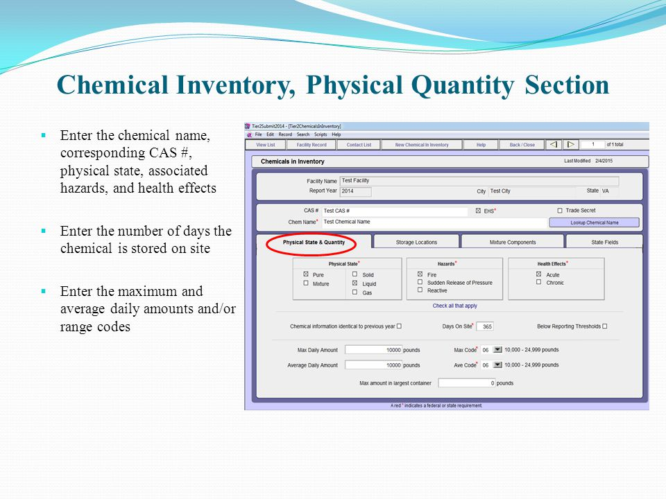 Chemical Inventory, Physical Quantity Section