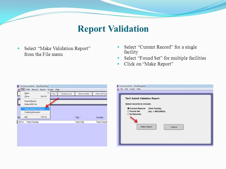 Report Validation Select Make Validation Report from the File menu