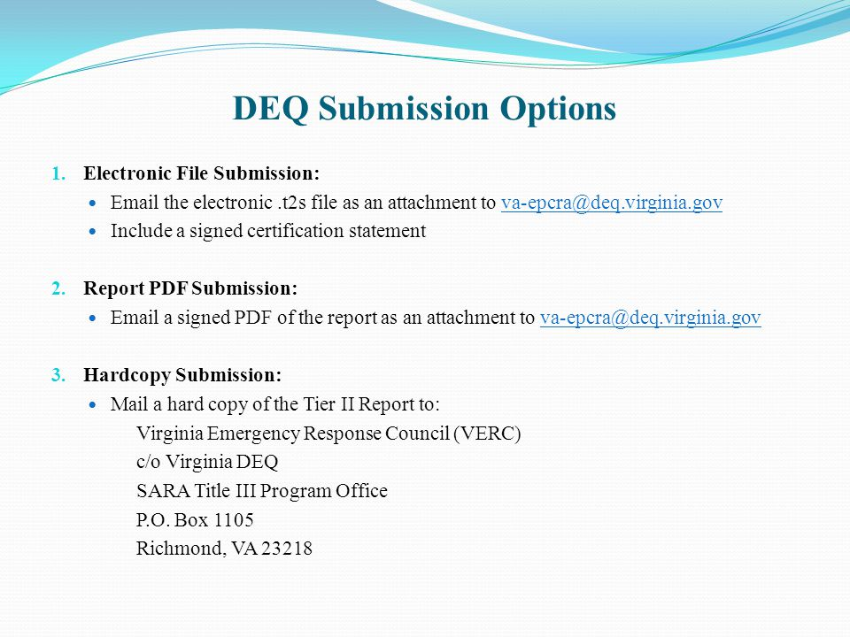DEQ Submission Options