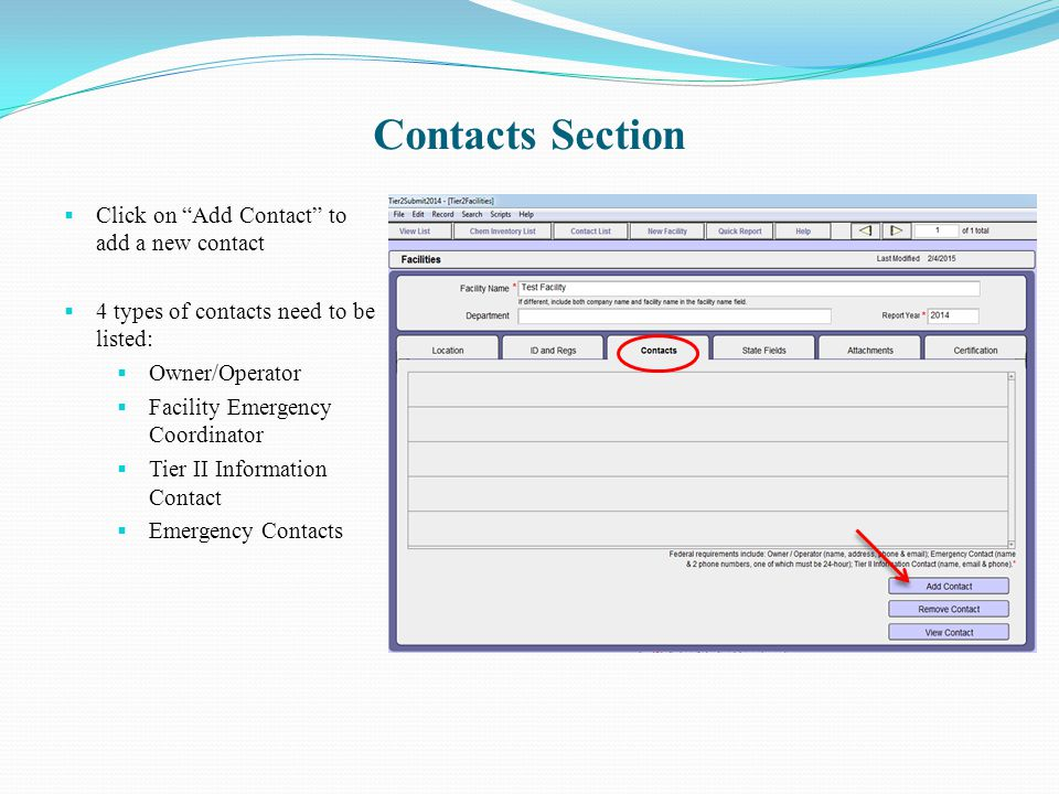 Contacts Section Click on Add Contact to add a new contact