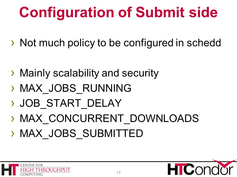 Configuration of Submit side