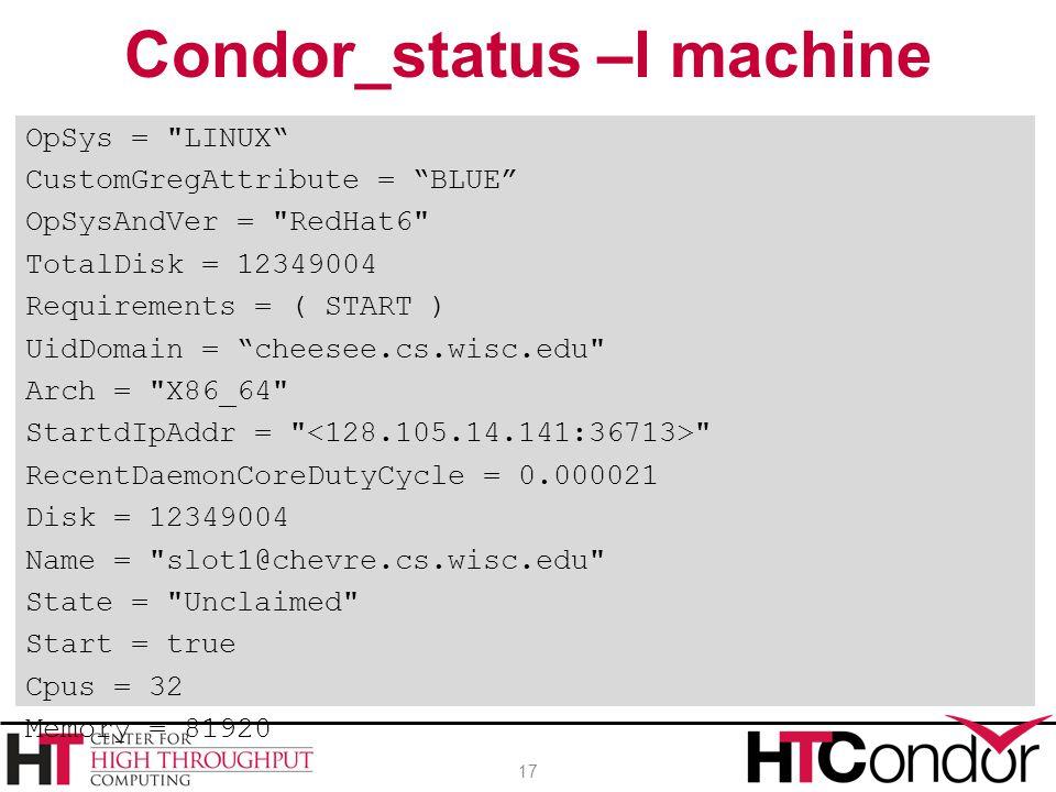 Condor_status –l machine