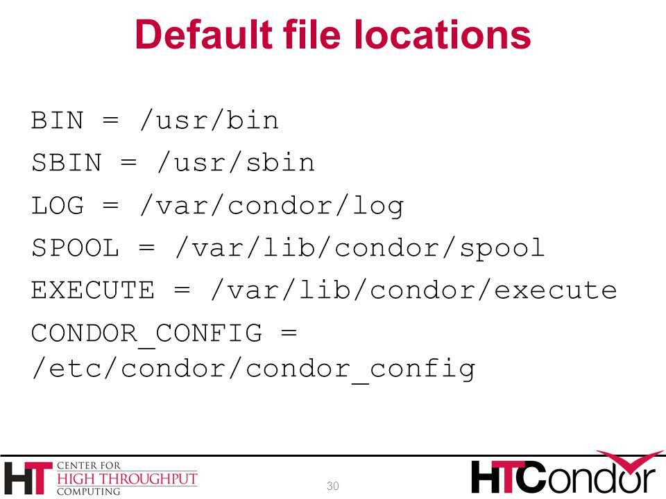 Default file locations