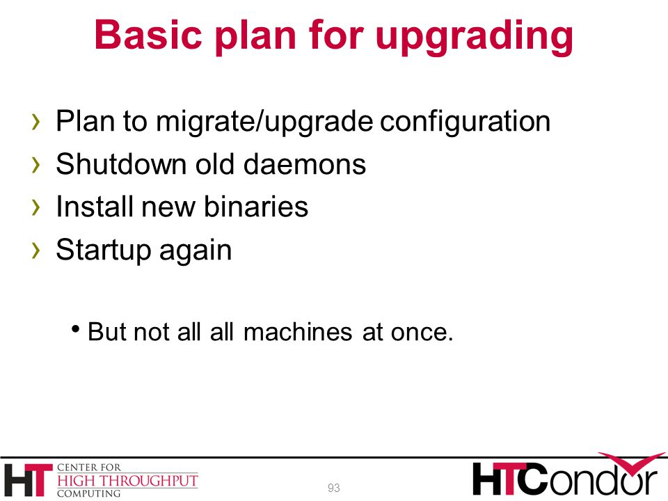 Basic plan for upgrading