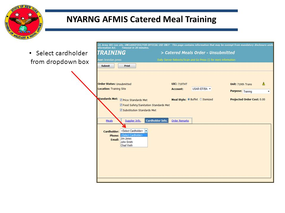 NYARNG AFMIS Catered Meal Training
