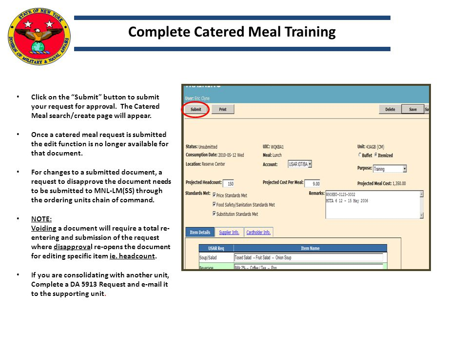Complete Catered Meal Training