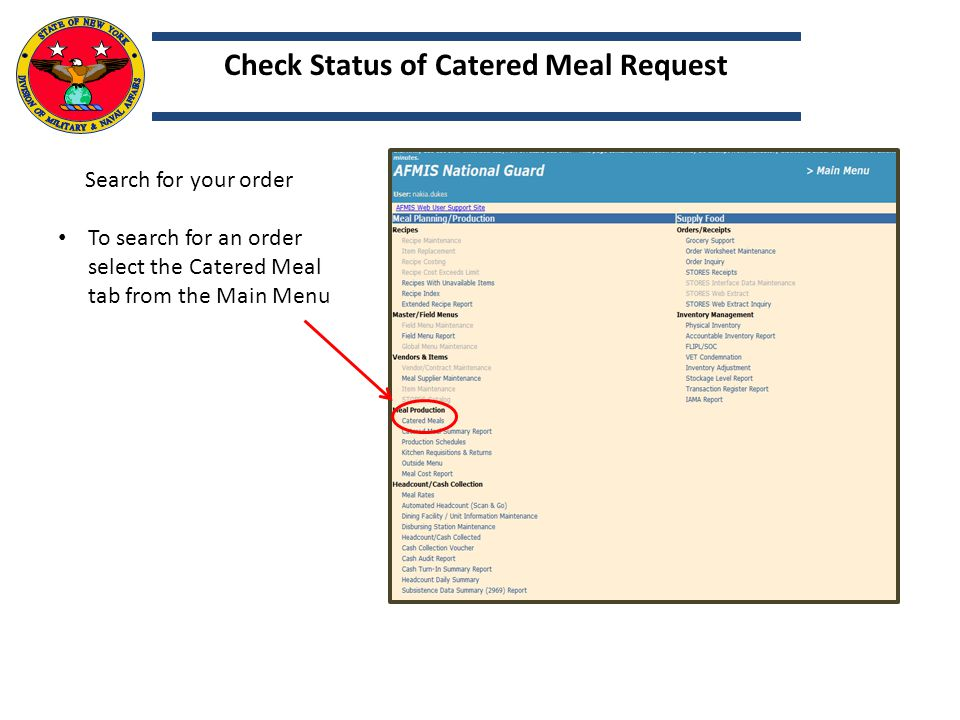 Check Status of Catered Meal Request