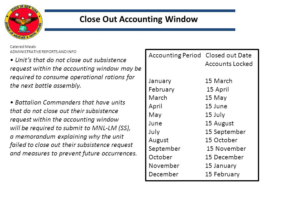 Close Out Accounting Window