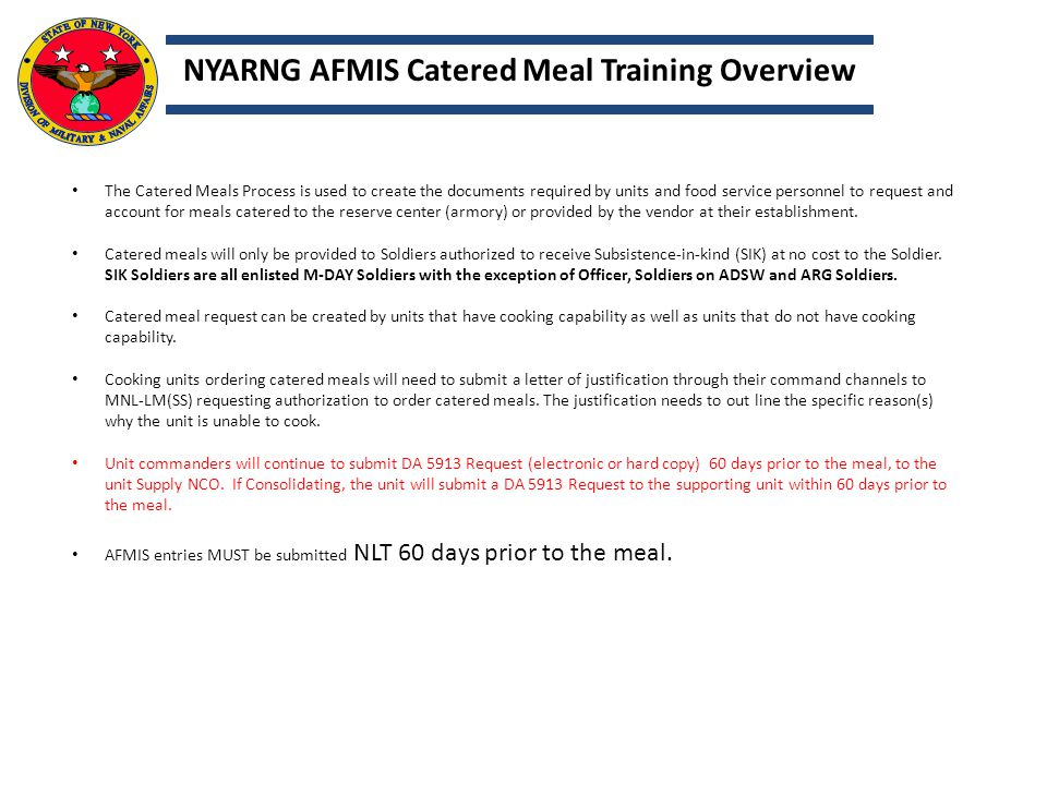 NYARNG AFMIS Catered Meal Training Overview