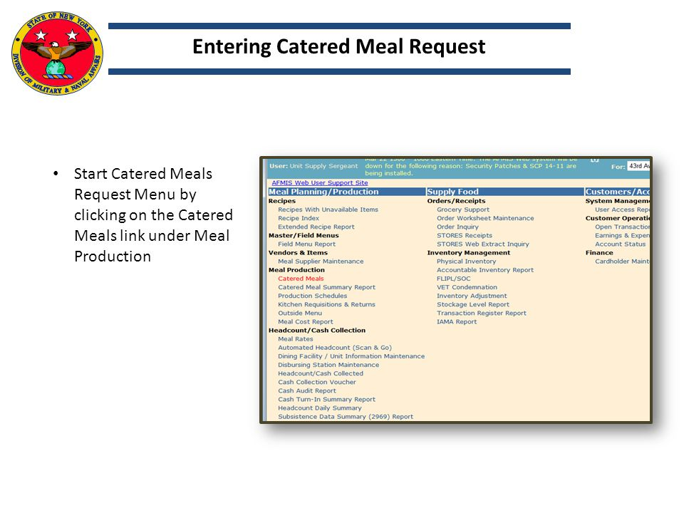 Entering Catered Meal Request