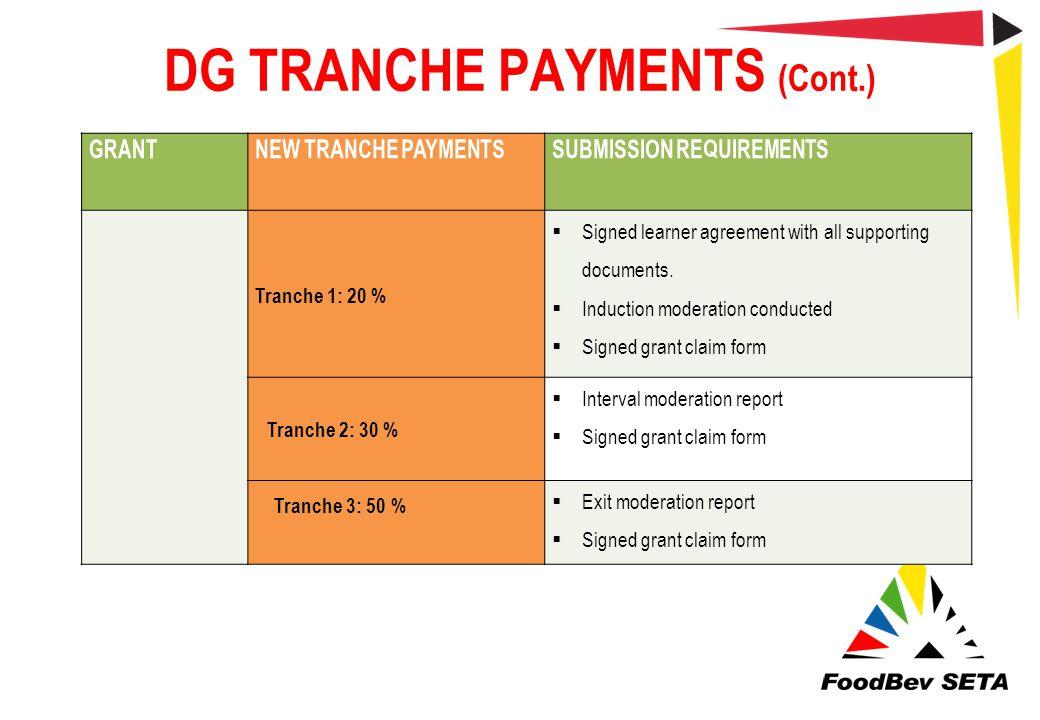 DG TRANCHE PAYMENTS (Cont.)