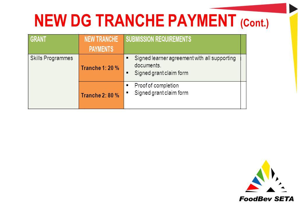 NEW DG TRANCHE PAYMENT (Cont.)