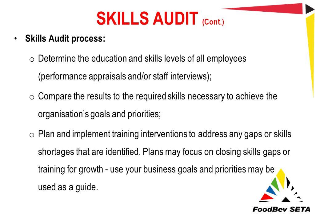 SKILLS AUDIT (Cont.) Skills Audit process: