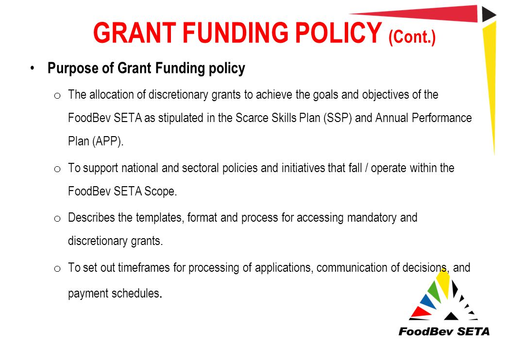 GRANT FUNDING POLICY (Cont.)