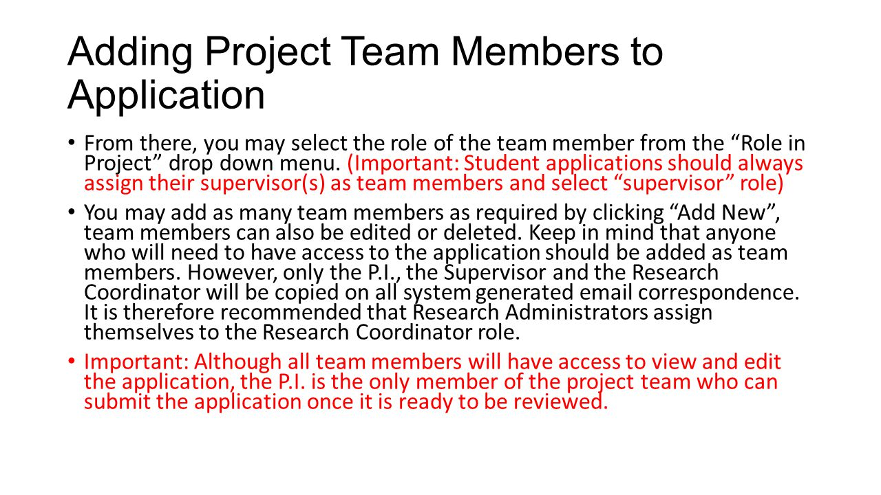 Adding Project Team Members to Application