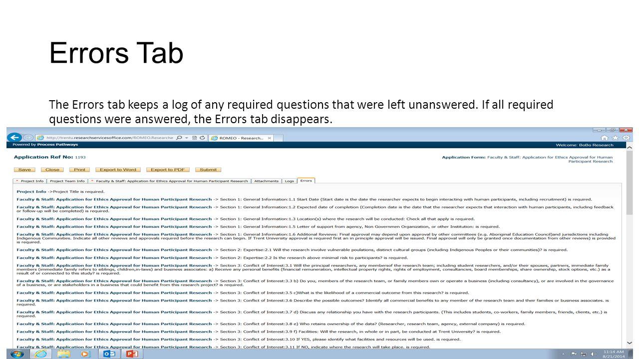 Errors Tab