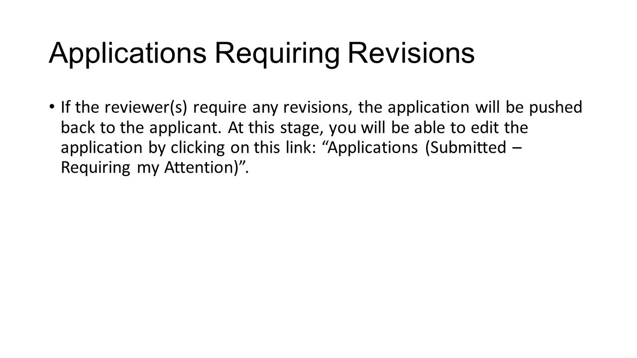 Applications Requiring Revisions