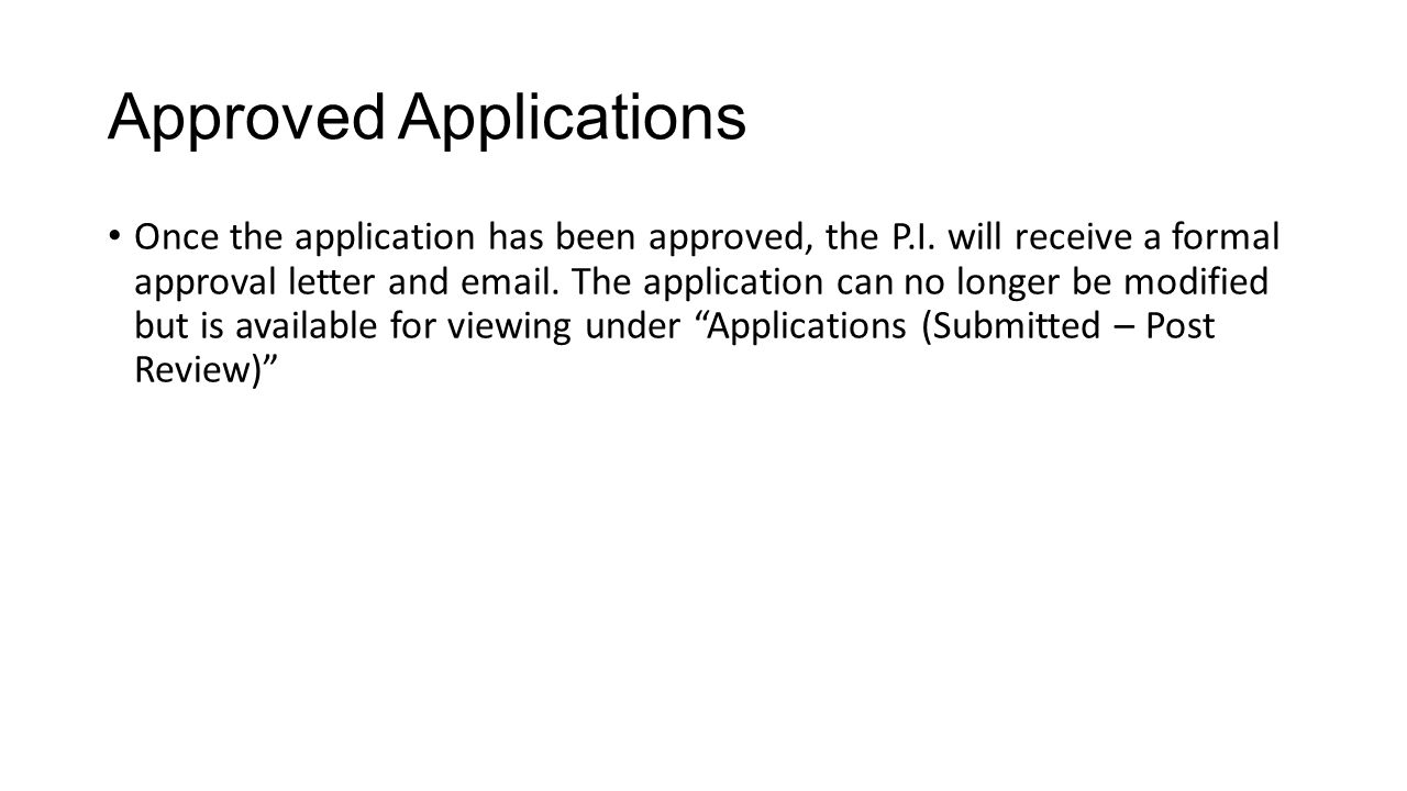 Approved Applications
