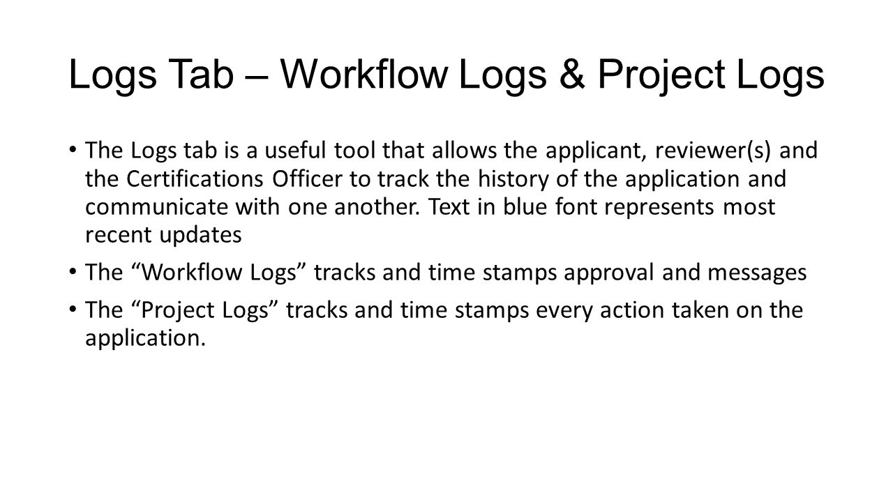 Logs Tab – Workflow Logs & Project Logs