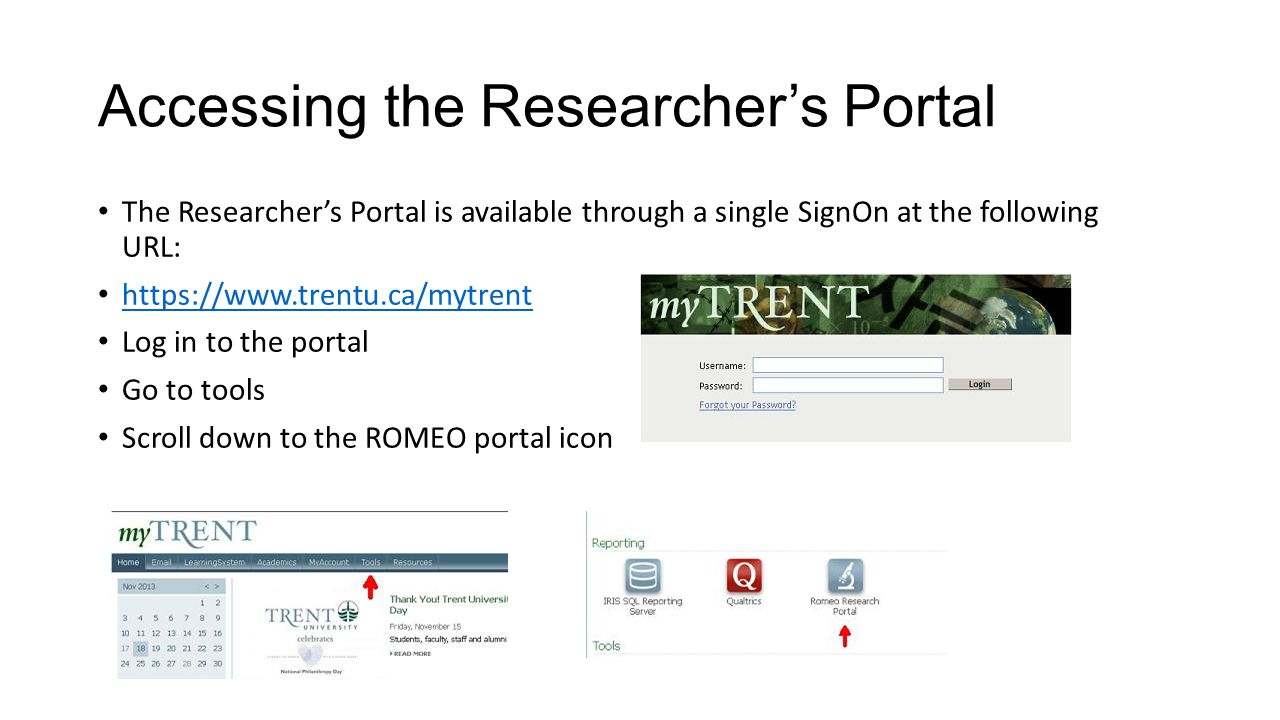 Accessing the Researcher's Portal