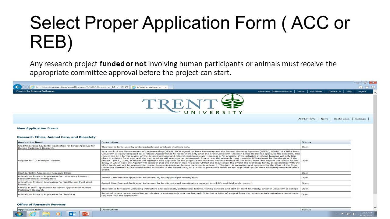 Select Proper Application Form ( ACC or REB)