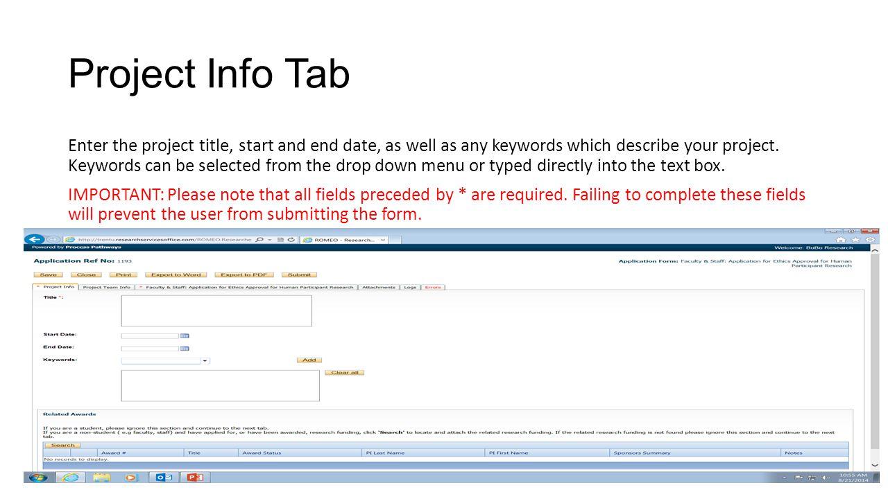 Project Info Tab