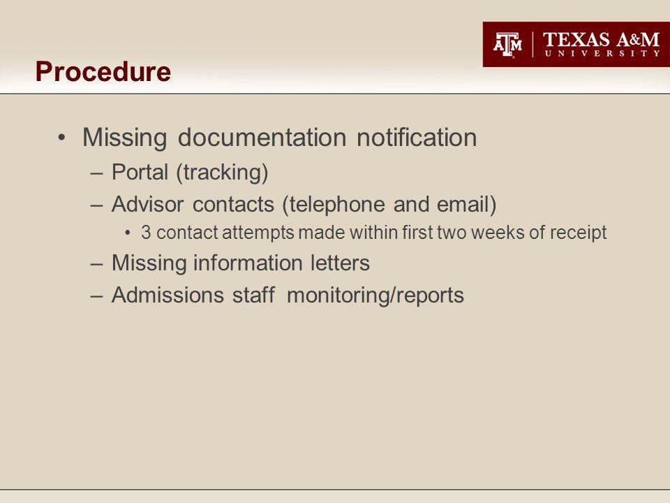 Procedure Missing documentation notification Portal (tracking)
