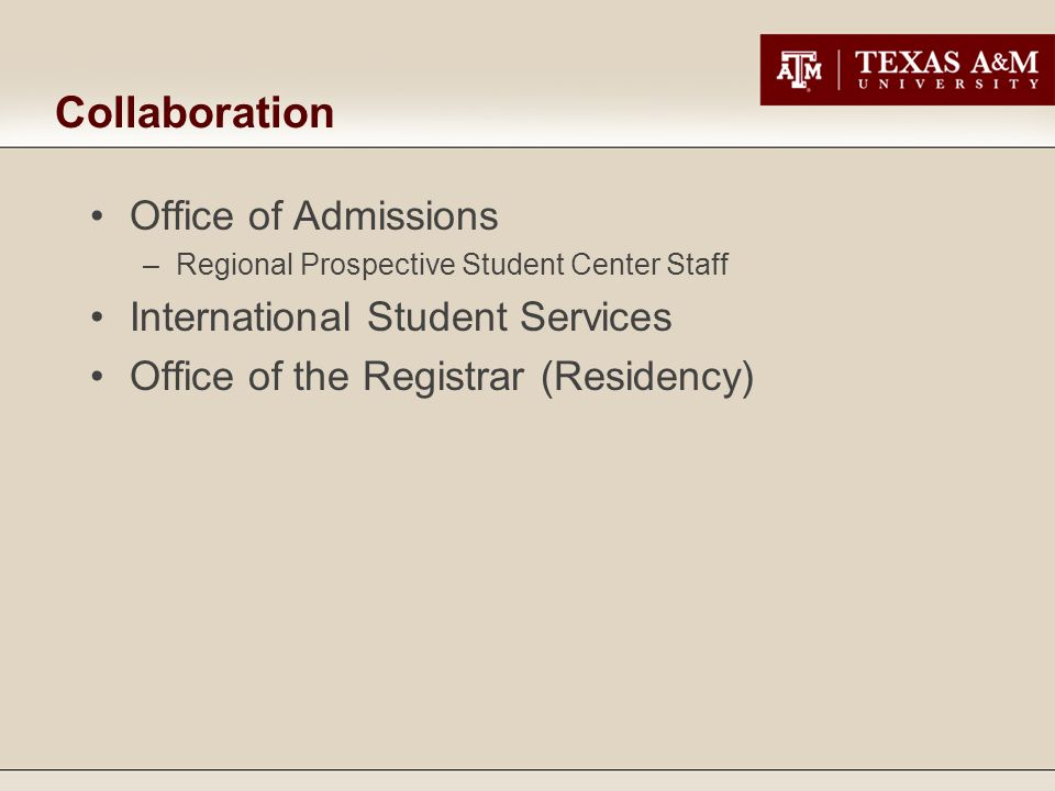 Collaboration Office of Admissions International Student Services