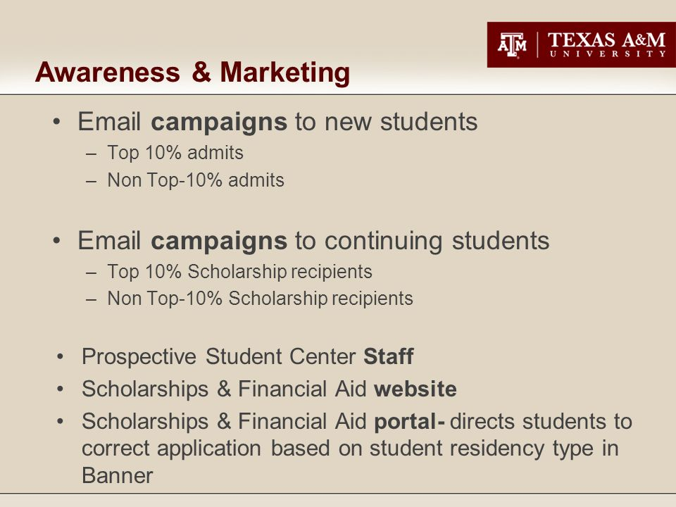 Awareness & Marketing Email campaigns to new students